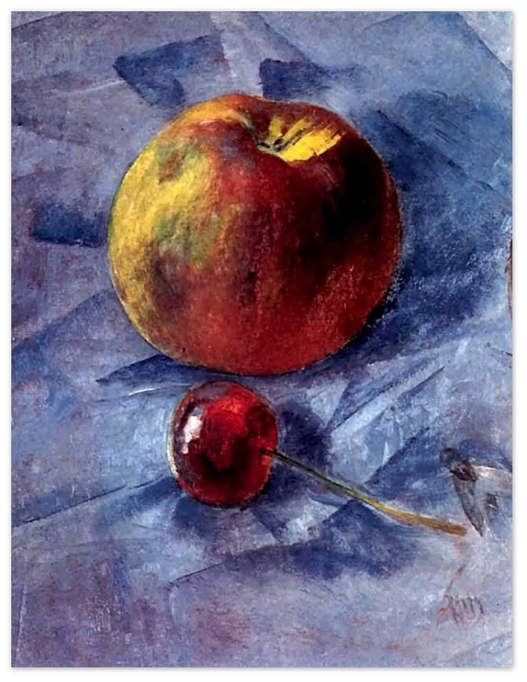 Петров-Водкин Кузьма Сергеевич - Яблоко и вишня (1907г., Частное собрание)