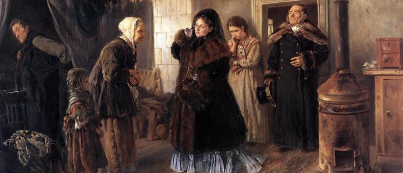 Что делает в этом бедном жилище богато одетая дама