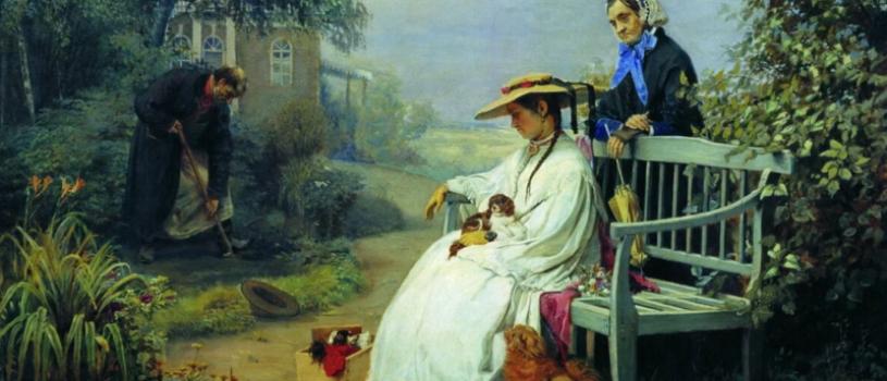 О чём грустит дама в белом платье и что закапывает мужчина