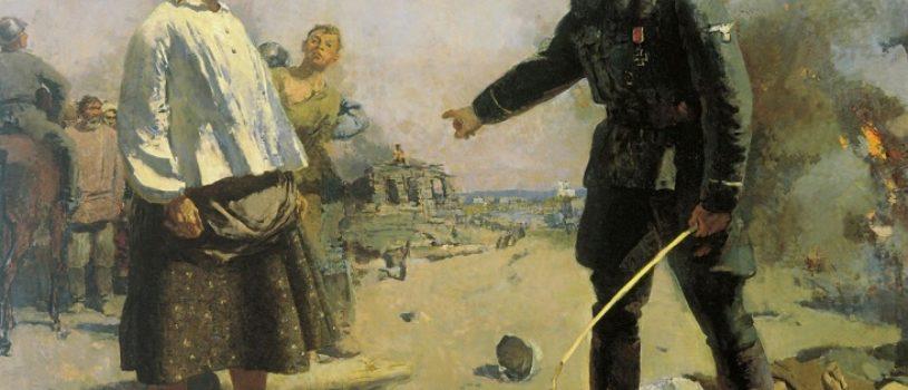 На фоне этой русской женщины немецкий офицер кажется жалким