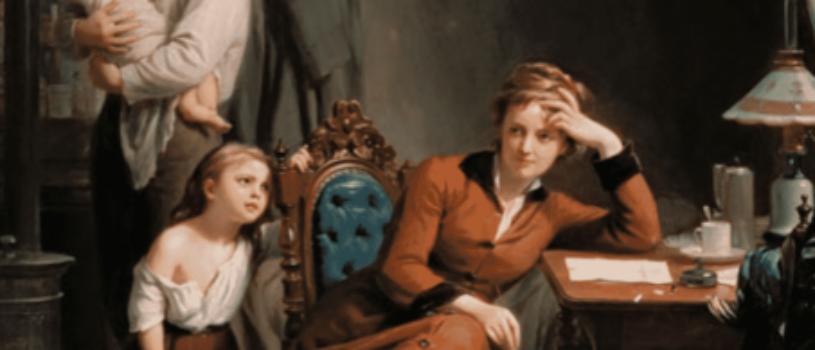 О чём задумалась мать семейства и чем недовольны другие герои картины