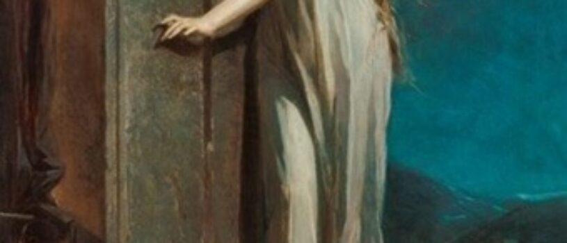 Почему героиня картины передвигается с закрытыми глазами