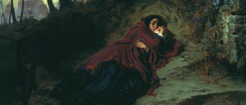 Покинутая: девушка с младенцем у реки. Размышляю, что собирается делать