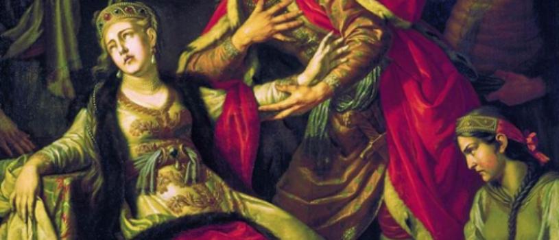 Князь Владимир просит у Рогнеды прощение за совершенное насилие