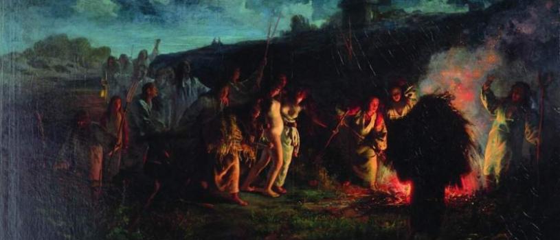 Женщины-крестьянки и нагая девушка: древний обряд — опахивание